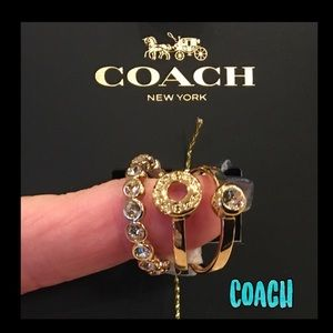 ❤️NWT❤️COACH gold open circle stackable 3 ring set